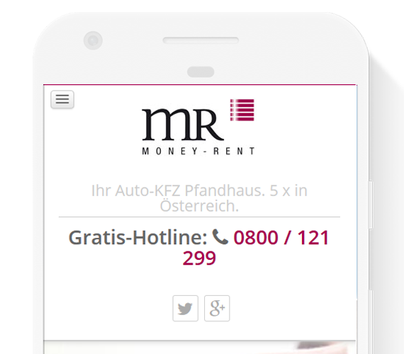 Screenshot der mobilen Webseite www.money-rent.at